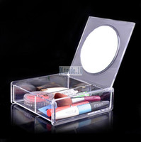 makeup case - Hot Fashion Transparent Crystal Storage Box makeup Organizer Cosmetic Acrylic Clear Jewelry Display Case with Mirror Jewelry Box D2424