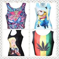 Wholesale 2015 New Sunmer Womens Cartoon D Vest Sleeveless Graphic Printed Vest Tank Top shirt Inside Take Tank Clubwear