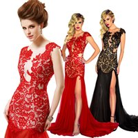 cheap long prom dresses - Real Image Sexy Bodycon Lace Mermaid Prom Dresses Sheer Crew Neck Backless Side Split Long Red Bridal Evening Dress Party Gowns Cheap