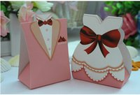 boxes for wedding dress - 2015 Pink Bridegroom Bridal Dress Wedding Favors Candy Boxes Wedding Packing Gift Boxes For Wedding Decoration