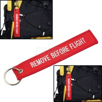 zipper pull - Embroidered Remove Before Flight Keyring Luggage Tag Zipper Pull Woven Keychain