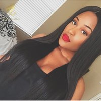 affordable baby - Middle part wig straight brazilian human hair silk top glueless full lace wigs affordable lace front wigs With Baby Hair