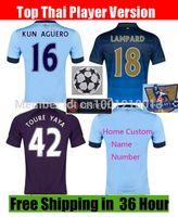 manchester - Cheap City Home Blue KUN AGUERO LAMPARD SILVA TOURE YAYA CLICHY Soccer Jersey Thai Manchester Away Purple Football Shirt