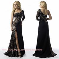 Lace Long Sleeve Court Train 2016 Cheap Black Evening Dresses With One Shoulder Lace Applique Sequins Split Evening Party Dresses Gowns Formal Dresses Custom