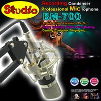 Precio de La grabación de música de la pc-Calidad superior de calidad superior profesionales para estudio de grabación Micrófono condensador BM700 micrófono para karaoke música de la guitarra Crear Broadcast PC Microfono