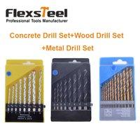 Flexsteel 13PCS HSS Titanium Twist Foret Bits Set à Metal + 8PCS Twist foret Set + 8pcs HSS roche béton foret ensemble