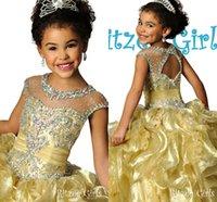 short pageant dresses for girls - 2015 Cute Girls Pageant Dress For Girls Sheer Neck Short Cap Sleeves Crystal Organza Floor Length Glitz Gold Ball Gown Flower Girls Dress