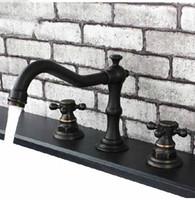 Cheap Oil Rubbed Bronze Bathroom Basin Faucet Double Handles Sink Mixer Tap Deck Mount