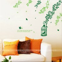 beautiful landscape design - Wall stickers home decoration DIY removable wall stickers living room bedroom children s beautiful and romantic landscape leaves cage wall s
