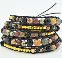 amber precious stone - 2016 New Arrival High Quality Semi Precious Stones Layers Great Simply Fashion Adjustable Genuine Leather Wrap Bracelet