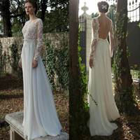 Wholesale 2015 Long Sleeve Backless Summer Wedding Dress A Line Transparent Vestido Noiva Lace Chiffon White Beach Bridal Gowns Floor Length W2824