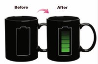 battery powered coffee mug - Mugs Temperature Change Coffee Cups the icon Battery Power Drinks Mugs with Black For Sale