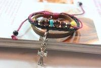 beaded christian jewelry - 2015 Trendly Charm Bracelets Leather Beaded Bracelets With Cross Jesus Bracelet Christian Jewelry DHL Free