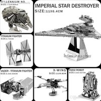 Wholesale Hot Star Wars D model D metal puzzles DIY Jigsaws X Wing Fighter Imperial Star Destroyer R2D2 robot Millennium No Puzzles