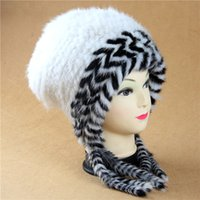 accesories for men - Luxury Genuine Mink Fur Knitted Handmade Winter hats and caps With tassel luxury all for Chritsmas accesories and Gift wh48