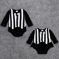 Wholesale 2015 Baby clothing bodysuits infant one piece newborn jumpsuits striped bow grenadine long sleeve kid clothes wear fall