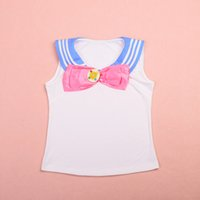 Wholesale New Sailor Moon Sailor T Shirt Bowknot Vest Tops T Shirt Girls Woman Lolita Cosplay Costume