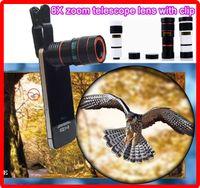 Wholesale 10PCS Universal X zoom cellphone telescope camera optical lens with clip x external lens Mobile Phone Telescope for iPhone S C S i6