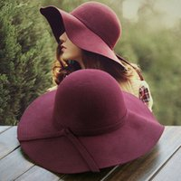 audrey hepburn hat - Audrey hepburn Autumn and winter woolen women s large brim hat winter wool hat vintage big woolen fedoras winter hats for
