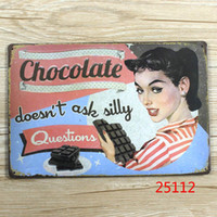 metal plaque - Silly Question Not Ask Metal plaque Chocolate Poster Retro Bar Craft Decor Wall art Signs B CM Mix Items