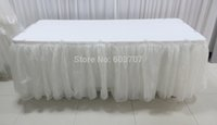 banquet table skirts wholesale - ft Customized Organza Chiffon Snow Yarn Table Skirt Table Skirting for Wedding Banquet Decoration