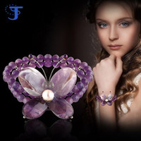 Wholesale 2016 Purple Butterfly Bracelet Natural Purple Crystal Amethyst Sweet Romantic beaded strands Best gift for Women Wedding Party