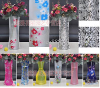 Wholesale PVC creative folding magic vase household plastic vase Portable Folding Flower Pot