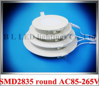Wholesale die cast aluminum LED flat light round recessed ceiling panel light W W W W W W AC85 V SMD2835 CE ROHS