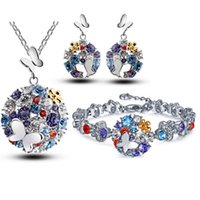 african cities - Butterfly Flowers City Jewelry Sets Fashion Brand Real White Gold Plated Rhinestone Crystal African Costume Set for women