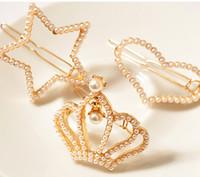 Wholesale Luxury crystal diamond pearl hair clip headwear barrette hair jewelry