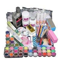 Wholesale Professional Acrylic Powder Nail Kit Liquid Powder Glitter Clipper Primer File Art Tips Manicura Tool Brush Tools DIY Set Kit Ongles