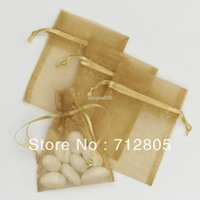 Wholesale x9cm Gold Organza Pouch Jewelry Packaging Gift Bag Party Wedding Favor Bag Drawstring Bag