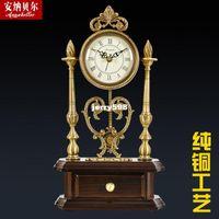 antique parlor tables - 100 real picture European copper antique clock table clock mute parlor clock watches home decoration Creative Arts swing antique clock