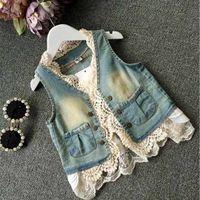 denim waistcoat - 2015 Summer Girls Lace Edge Wash Denim Waistcoat Kids Clothing Flower Lapel Collar Tank Jeans Tops Korean Kid s Vest Outwear C016