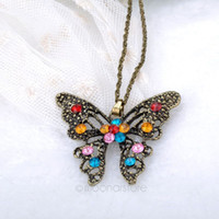 antique jewellery sale - Hot Sale Jewellery Christmas Antique Hollow Tibetan Butterfly Crystal Turquoise Pendant Chain Necklace Clothes for Women ZMPJ303