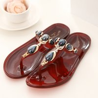 pvc sandals - Flip Flops Beach Sandals Slippers Fashion Shoes PVC Flat Slippers Rhinestones Bohemia Sandals Beach Slippers For Ladies US5 US10