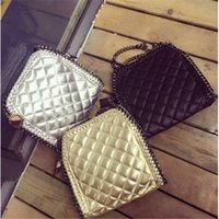 quilted handbags - Famous Designer Quilted Shell Bag For Women Cool Chains Handbag Shoulder Messenger Bag Vintage Punk Woven Bags Marca Mujer Bolso