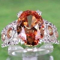 Wholesale Cheap Crystal Oval Cut Morganite White Topaz Gemstone Silver Luxury Wedding Lady Finger Ring for Evening Prom Party Size