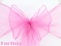 Wedding Organza Fabric  High Quality Beach Banquet Fuchsia Organza Chair Sashes Bow Ribbons Free Shipping