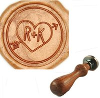 Wholesale Vintage Heart Arrow Custom two Initials Double Letters Picture Wedding Invitation Wax Seal Stamp