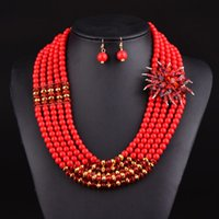 Wholesale Newest nigerian wedding african beads jewelry sets crystal flower necklace for women new mixed color fine jewelry V070