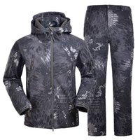 Wholesale NEW TYPHON TAD Tactical Softshell Camouflage Outdoors Suit Men Army Sport Waterproof Hoody Clothing Set Military Uniform