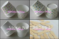 ice cream paper cup - Mixed color Round polka dot paper cupcake case ice cream cups with lids Ice cream spoon scoop