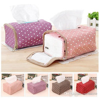Wholesale Tissue Boxes Napkin Bag Fabric Cloth Polka Dot Creative Tissue Drawing Zipper Pouch Orc