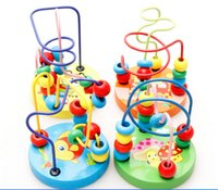 Wholesale 2015 NEW HOT Baby wooden toy Mini around beads Wire maze Colorful Educational game Children Toys