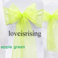 apple red chair sashes - Hot item Tracking Number Apple Green Color quot cm W x quot cm L Organza Chair Sashes Wedding Party Banquet Decor