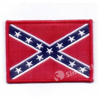Wholesale Rebel Flag Armband Confederate Battle Flag Uniform Shoulder Patch Civil War Flags Sew on Patch Army Morale Military Embroidered Applique DHL