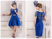 Model Pictures plus size evening dresses - Fashion Plus Size Lace Evening Gowns Tea Length Sweetheart Capped Sleeves Cocktail Party Bridesmaid Mother Dresses Special Occasion New