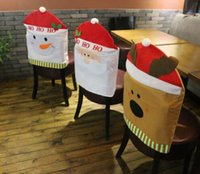 Wholesale 2015 Santa Clause Chair Covers Snowman Reindeer Chair Back Covers For Christmas Dinner Decor Christmas Decorations New Party Supply Favor