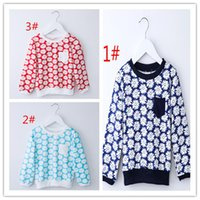 Wholesale 2016 Children Girls Long Shirt casual comfortable wear long sleeves pullovers printing t shirts girls sweater A022150 A set for sale